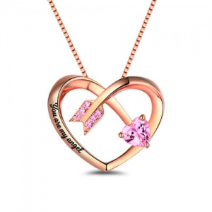 Personalized Love Arrow Birthstone Heart Necklace In Rose Gold