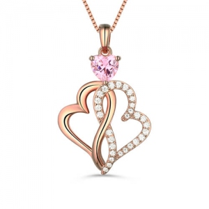 Custom Twist Hearts Infinity Love Necklace In Rose Gold