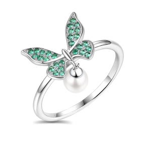 Elegant Butterfly Ring With Freshwater Pearl In Sterling Silver