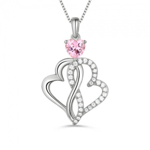 Custom Twist Hearts Infinity Love Necklace Sterling Silver