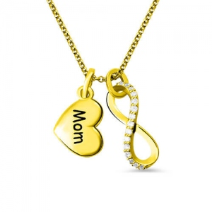 Custom Engraved Infinity Love Mom Necklace Gold Plated