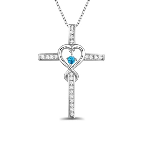 Personalized Infinity Cross Necklace With Birthstone