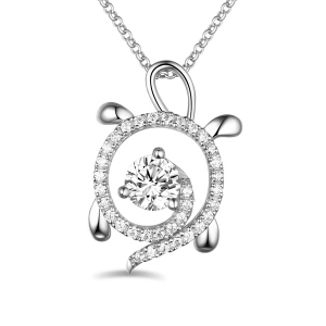 Personalized Sterling Silver Sea Turtle Necklace