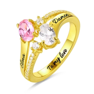 Engraved Double Oval Birthstones Ring In Gold
