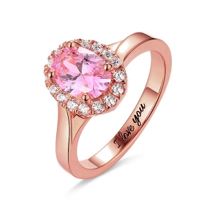 Engraved Stunning Oval Shaped Stone Halo Ring In Rose Gold