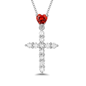 Personalized Heart Birthstone Cross Necklace In Silver