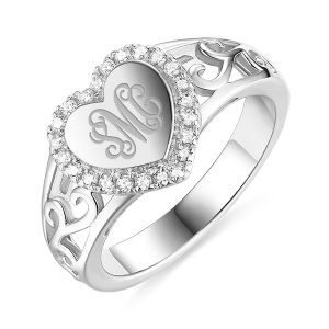 Custom CZ Monogram Heart Ring
