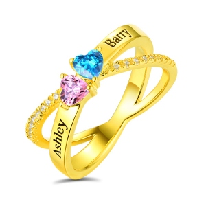Personalized Heart Birthstones Crisscross Ring In Gold