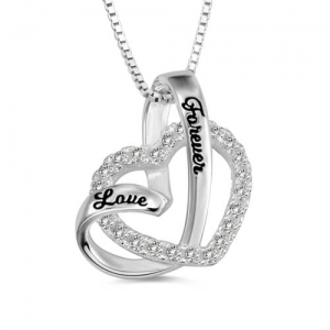 """Love Forever"" Heart In Heart Necklace Sterling Silver"
