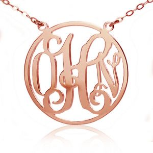 Circle Solid Rose Gold Initial Monogram Name Necklace