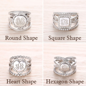 Sterling Silver Wonderful Engraved CZ Stacking Monogram Rings