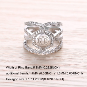 Engraved CZ Stacking Monogram Rings Sterling Silver