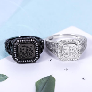 Personalized CZ Monogram Ring