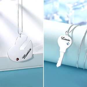 Couple's Breakable Necklace With Birthstones Silver