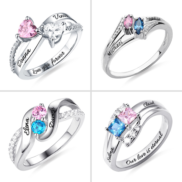 603c02632628e Personalized Two Names Ring with Diverse Shaped Birthstones