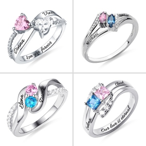 Personalized Engraved Double Birthstones with Diverse Shaped Promise Ring