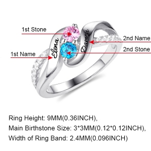 double heart birthstone ring