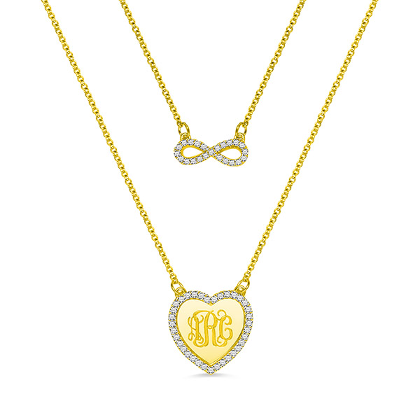 Custom Monogram Infinity Double-Layered Necklace In Gold