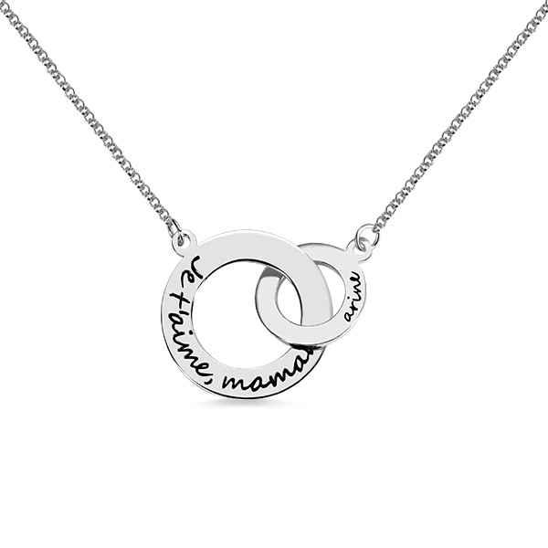 Engraved Interlocking Circle Necklace Sterling Silver