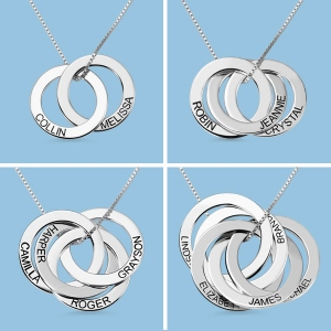 Engraved Russian Ring Necklace in Sterling Silver