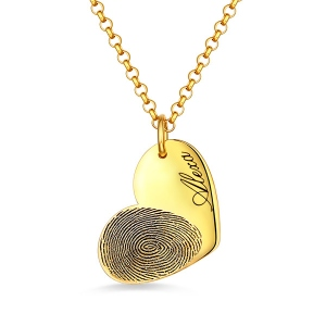 Personalized Fingerprint Heart Necklace With Name In Gold