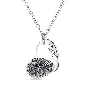 Personalized Fingerprint Heart Necklace with Name