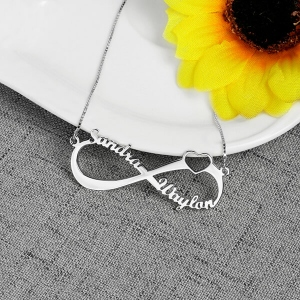 Personalized Infinity Heart Double Name Necklace Silver