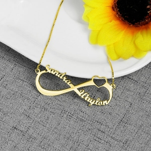 Personalized Infinity Heart Double Name Necklace Gold