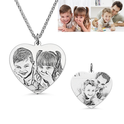 Heart Shape Double-sided Engraved Photos Necklace in Silver
