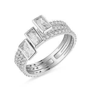 18k/14k/10k Rectangle Zirconia Stacking Solid White Gold Ring
