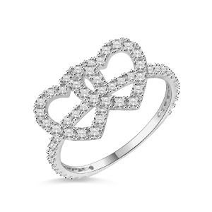 18k/14k/10k Cubic Zircon Solid White Gold Double Heart Ring