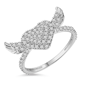 18k/14k/10k Angel Wings Heart Ring with Cubic Zircon