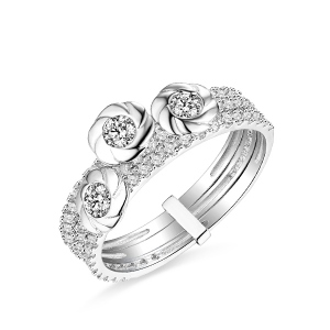 18k/14k/10k Flower Cubic Zirconia Solid White Gold Ring