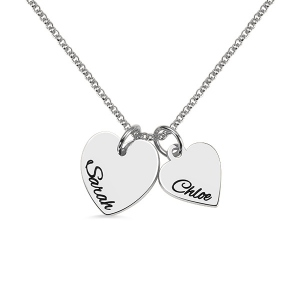 Personalized Double Hearts Charm Mother Daughter Necklace