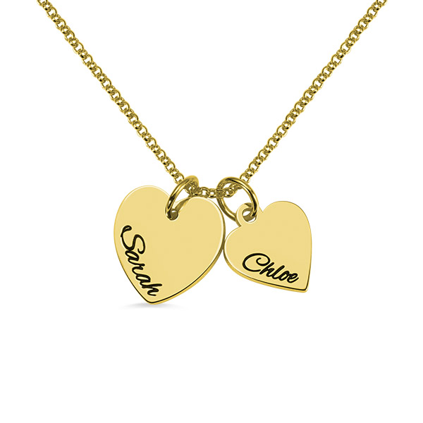 Personalized Double Hearts Charm Necklace in Gold