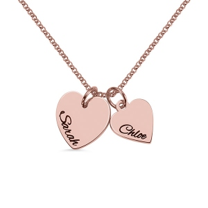 Personalized Double Hearts Charm Necklace in Rose Gold