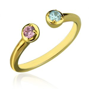 Dual Birthstone Ring 18K Gold Plated