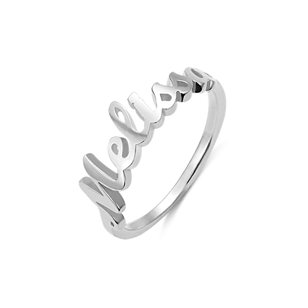 Personalized Single Name Ring in Silver