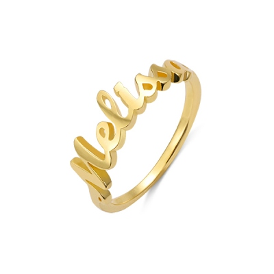 Personalized Single Name Ring in Gold
