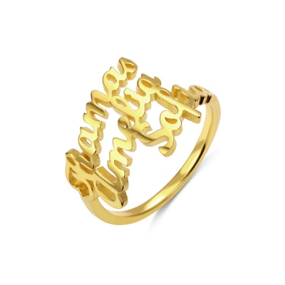 Personalisierte 3 Namen-Ring in Gold