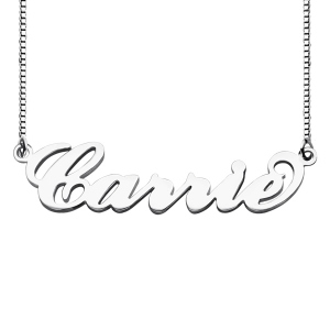 Personalized Box Chain Carrie Name Necklace Silver