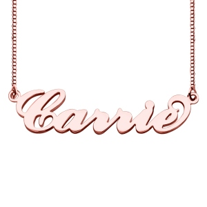 Carrie Name Necklace & Box Chain In Rose Gold