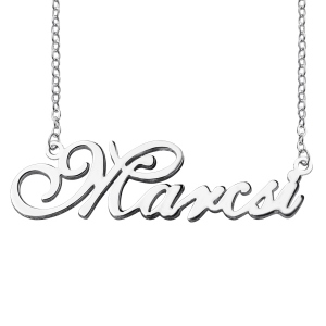 Personalized Anniversary Nameplate Necklace Sterling Silver