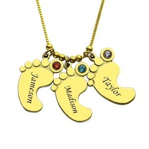 Mother's Pendant Baby Feet Names Necklace 18k Gold Plated