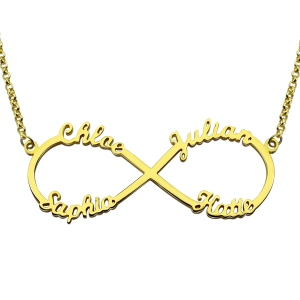 Superb Custom 18K Gold Plated Infinity Necklace 4 Names