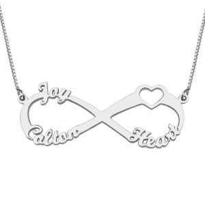 Mother's Day Infinity Necklace Gift with Heart and 3 Names
