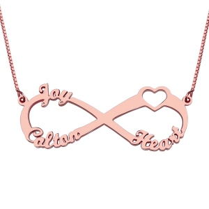 Sweet Heart Infinity Necklace 3 Names Rose Gold
