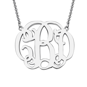 Wonderful Personalized Celebrity Monogram Necklace In Sterling Silver