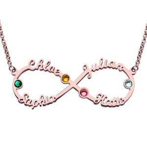 Best quality Infinity Four-Name Necklace With Birthstones Rose Gold