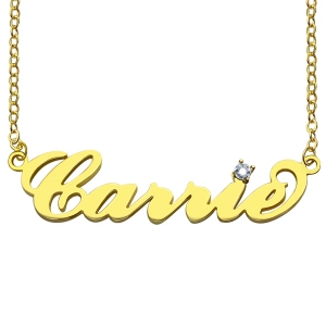 Enchanting Carrie Nameplate Necklace with Birthstone 18K Gold Plated